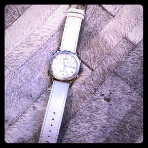 White leather band Victorinox Swiss wrist watch